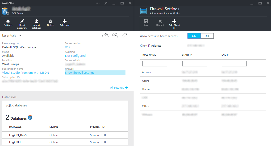 Azure database firewall